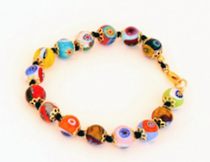Murano Glass Bead Bracelet - Nerida (Multicoloured)