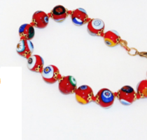 Murano Glass Bead Bracelet - Nerida Red