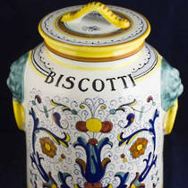 Hand-Painted Ceramics Ricco Deruta Biscotti Jar 230mm