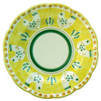 Hand-Painted Ceramics Gallinelle Dessert Plate Yellow
