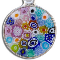 Murano Glass Pendant Millefiori 15mm Multi