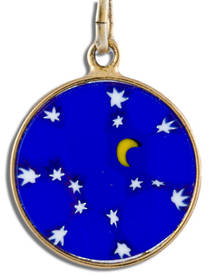 Murano Glass Pendant Millefiori 15mm Night Sky