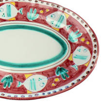 Italian Ceramics Pesce Oval Serving Platter 400mm Red