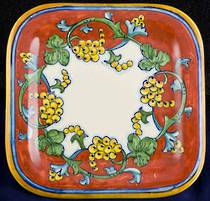 Hand-Painted Ceramics Corallo Square Plate 200mm
