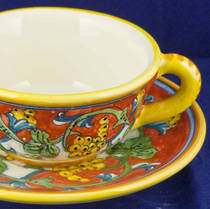 Hand-Painted Ceramics Corallo Teacup and Saucer